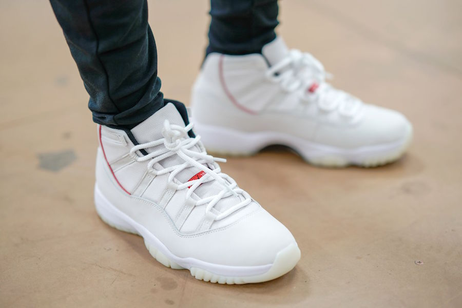 Air Jordan 11 Platinum Tint White Red Women Shoes