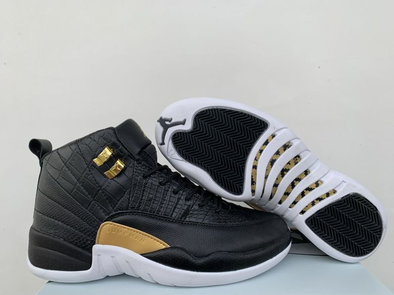 Air Jordan 12 Crocodile Pattern Black Gold Shoes