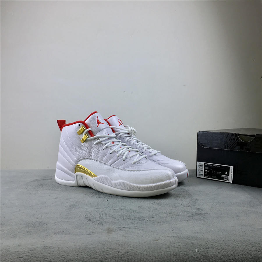 Air Jordan 12 FIBA White Red Black Shoes