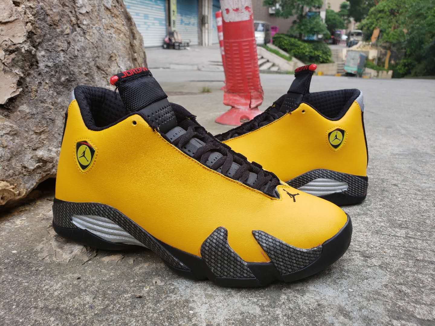 Air Jordan 14 Retro Yellow Ferrari Black Shoes