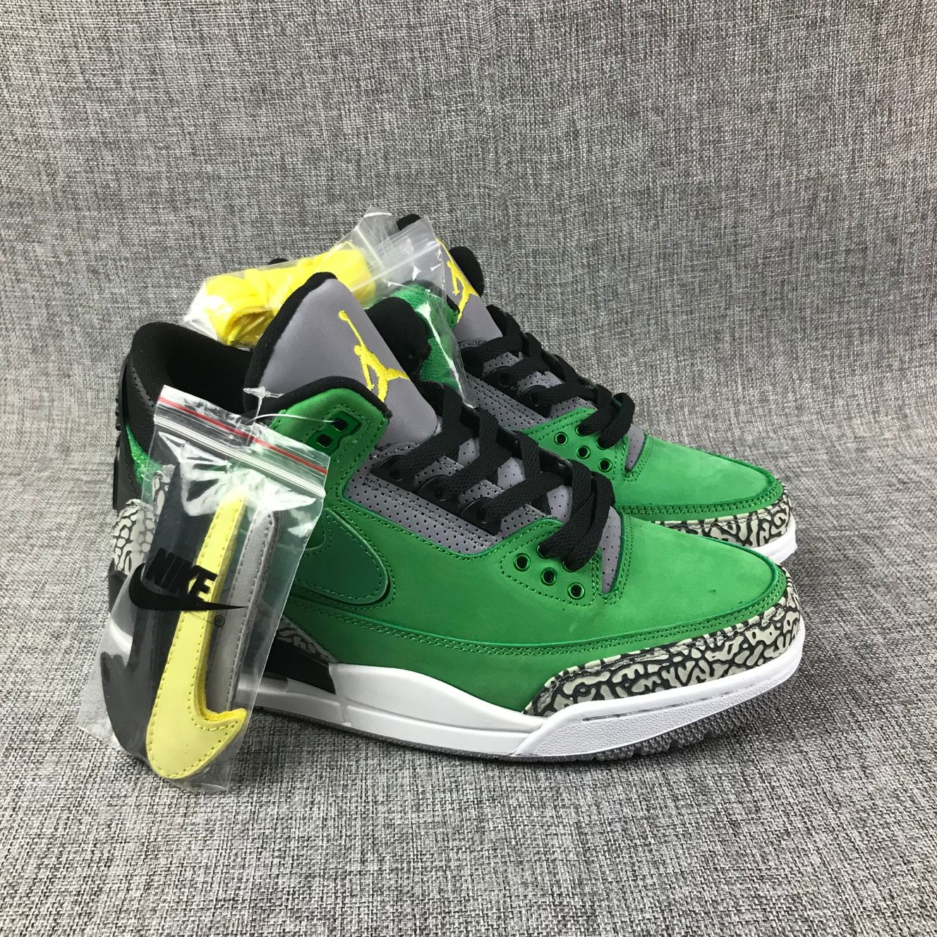 Air Jordan 3 Hand Engage Green Black Grey Air Logo Shoes