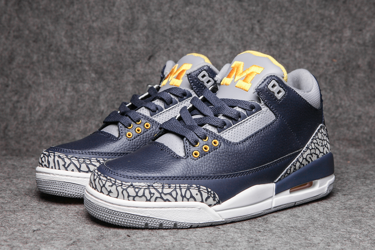 Air Jordan 3 Michigan Blue Grey Yellow Shoes