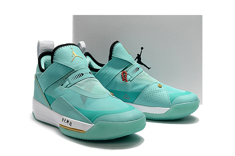 Air Jordan 33 Low Jade Blue Gold Shoes
