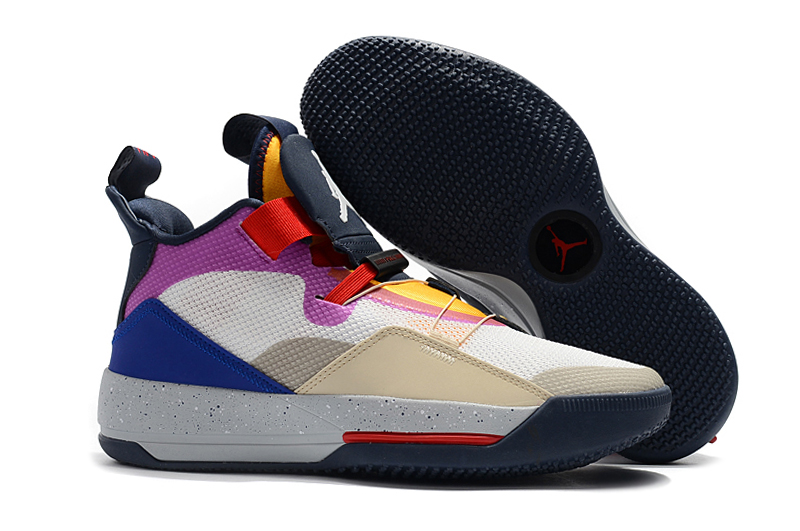 Air Jordan 33 White Yellow Purple Red Black Shoes