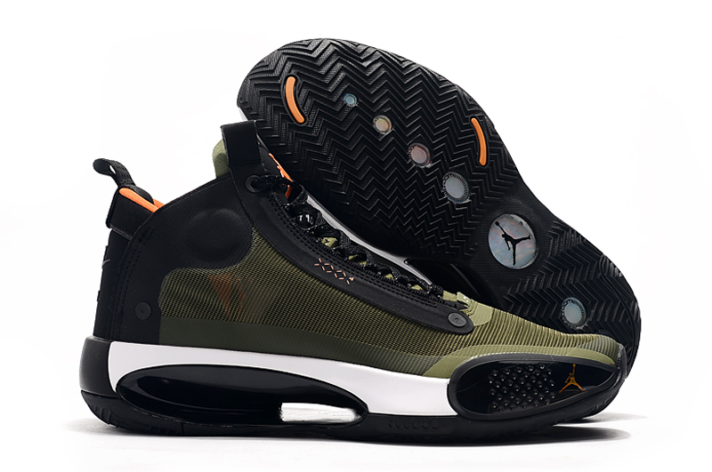 Air Jordan 34 Army Green Black Orange Shoes