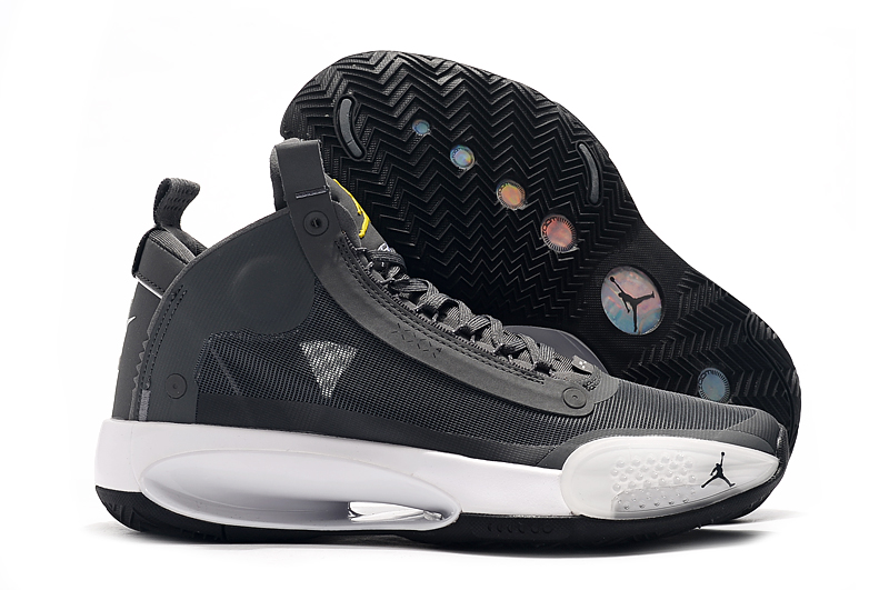 Air Jordan 34 Cool Grey Yellow Shoes
