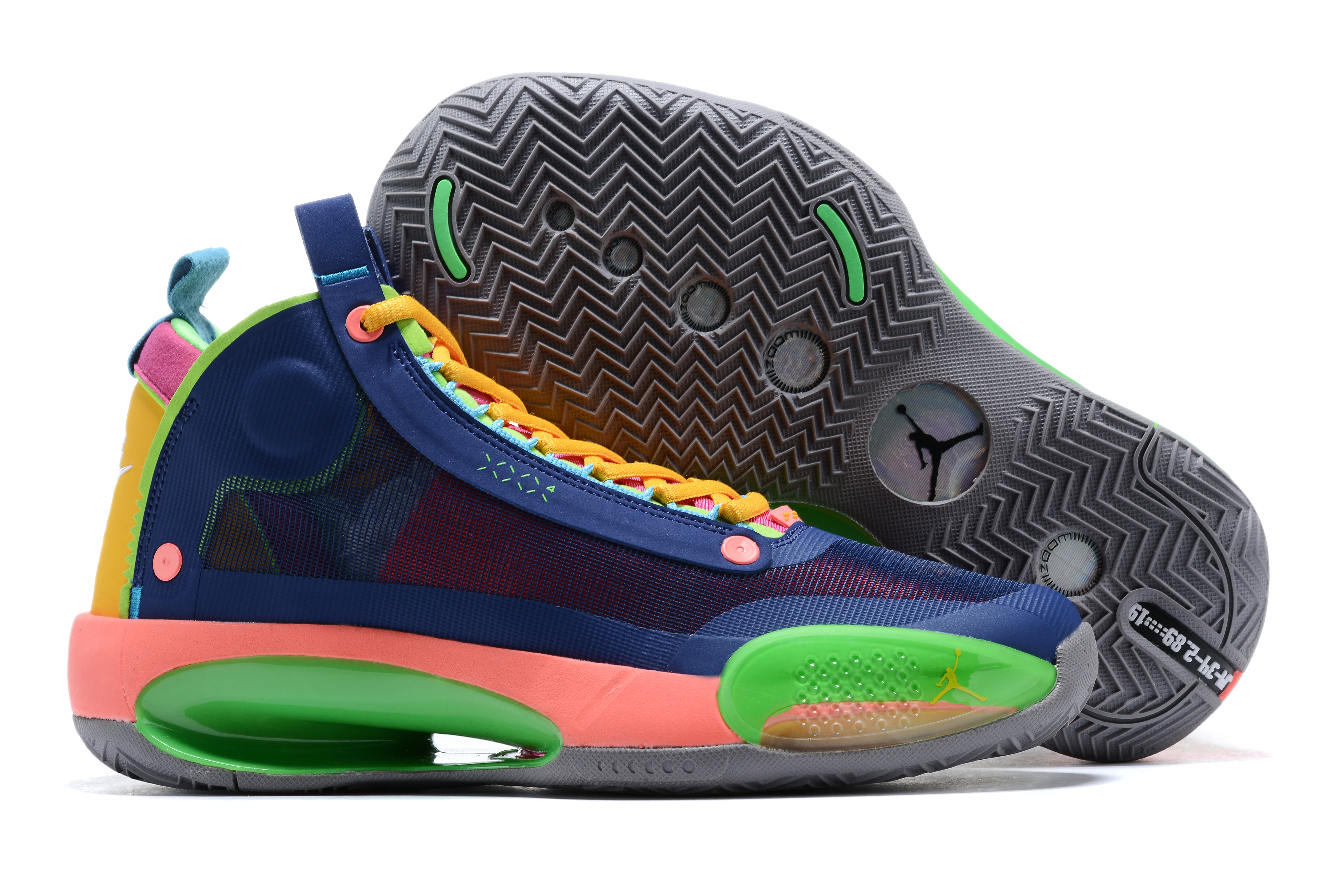 Air Jordan 34 Deep Blue Green Orange Shoes