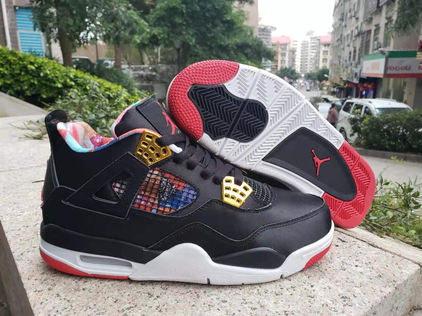 Air Jordan 4 CNY of 2019 Black Gold Red Shoes