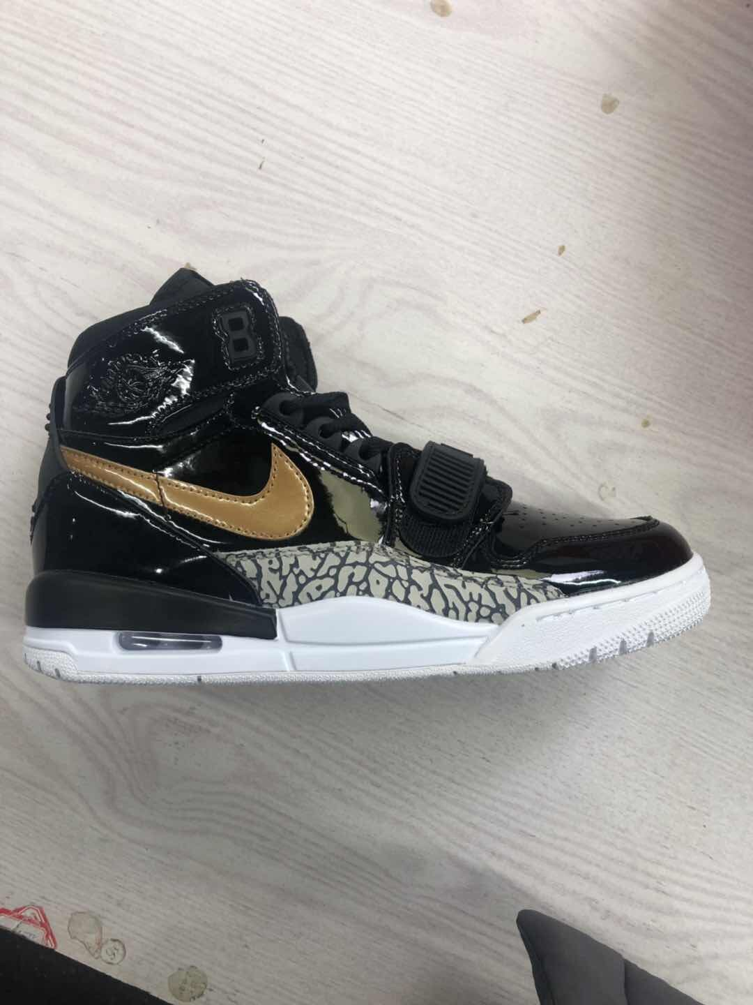 Air Jordan Legacy 312 Patent Leather Black Gold Grey Shoes