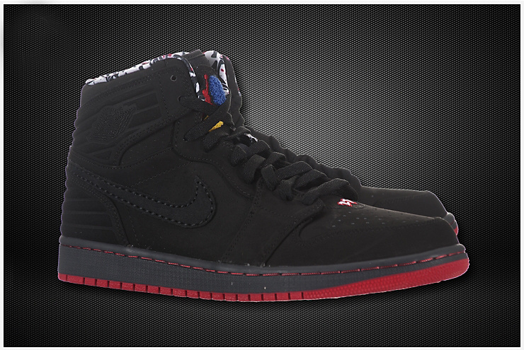 Air Jordan 1 Inserted Air Cushion All Black Red Shoes