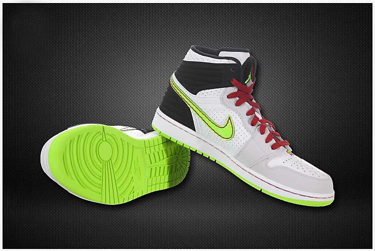 Air Jordan 1 Inserted Air Cushion White Grey Green Shoes