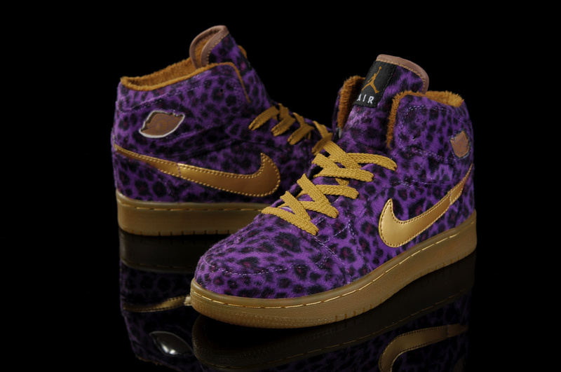 Air Jordan 1 Leopard Purple Brown For Kids