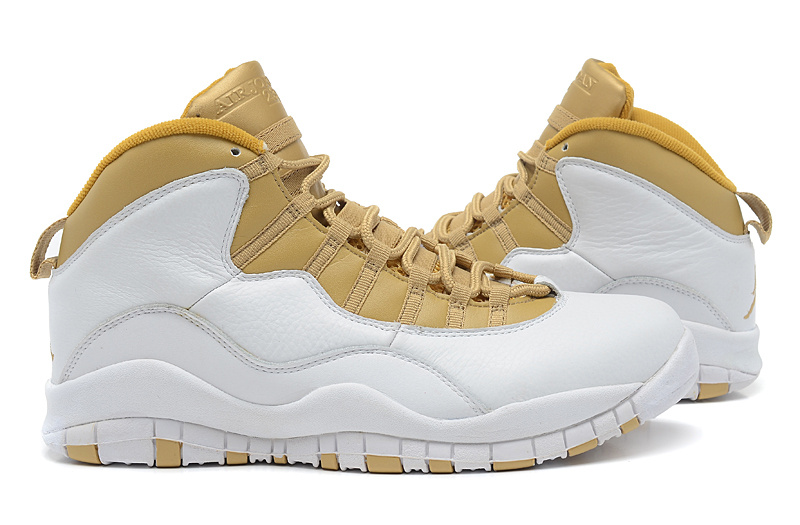 New Arrival Jordan 10 White Yellow Shoes