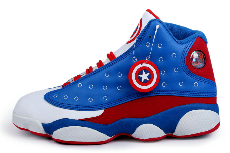 New Arrival Jordan 13 Captain America Edition Blue White Red Shoes