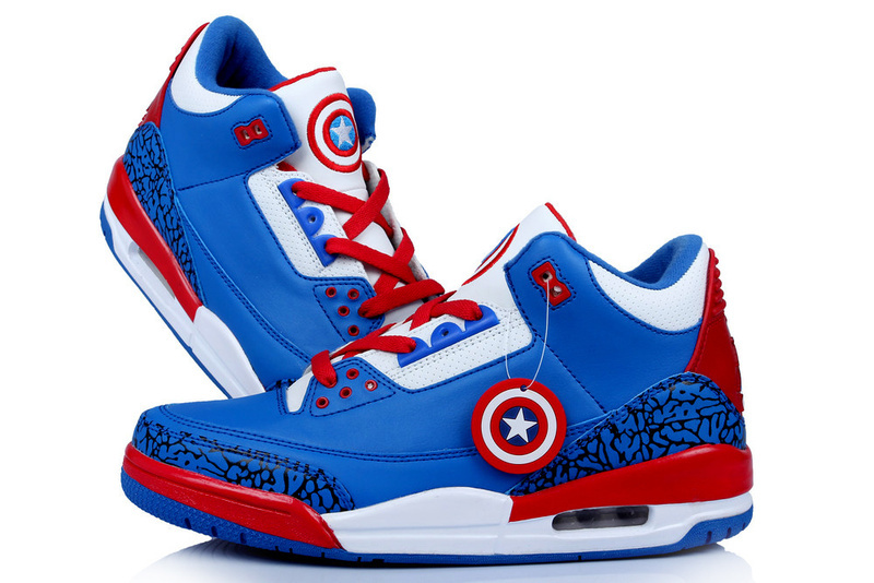 New Arrival Jordan 3 Captain America Edition Blue White Red Shoes ... 4c73cfb62