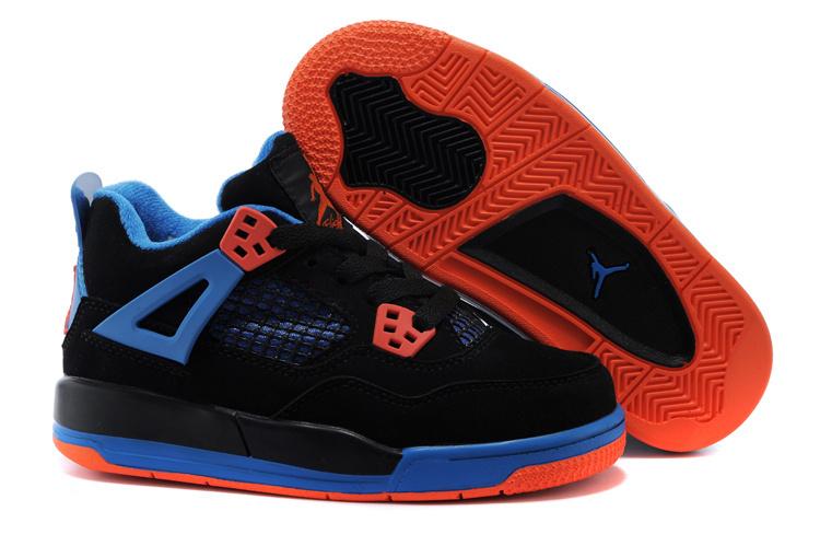 ee68d7bdcc9 Air Jordan 4 Black Blue Orange Shoes For Kids  17OG41531Air-Jordan-4 ...
