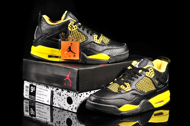 Air Jordan 4 Fish Pattern Black Yellow Shoes