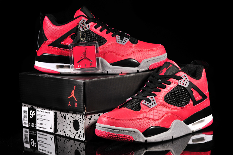 Air Jordan 4 Fish Pattern Red Black Shoes