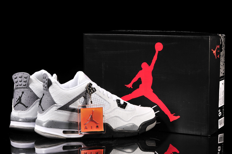 Air Jordan 4 Fish Pattern White Black Grey Shoes