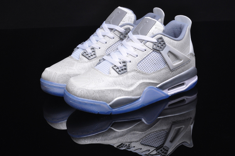 2015 Retro Air Jordan 4 Laser 5LAB4 White Grey Shoes