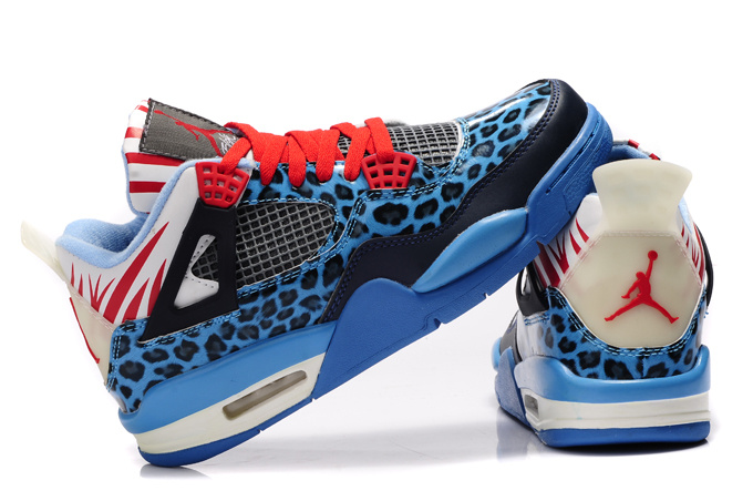 Authentic Air Jordan 4 Leopard Print Blue Black White Red Shine Shoes