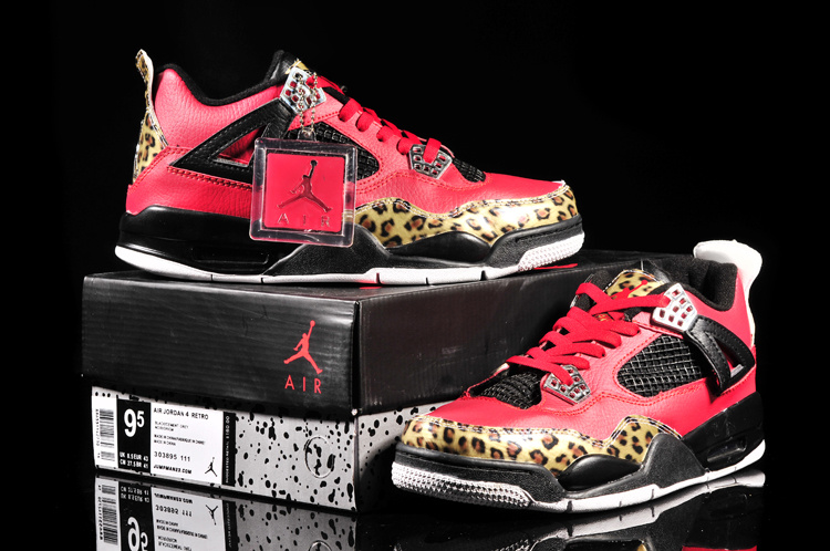 Cheap Air Jordan 4 Leopard Print Limited Edition Red Black Shoes On Sale b59994cd7