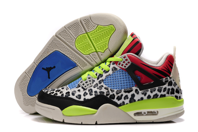 Authentic Air Jordan 4 Leopard Print White Black Green Red Shine Shoes