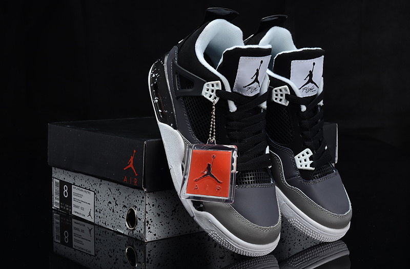 Air Jordan 4 Oreo Black Grey Shoes