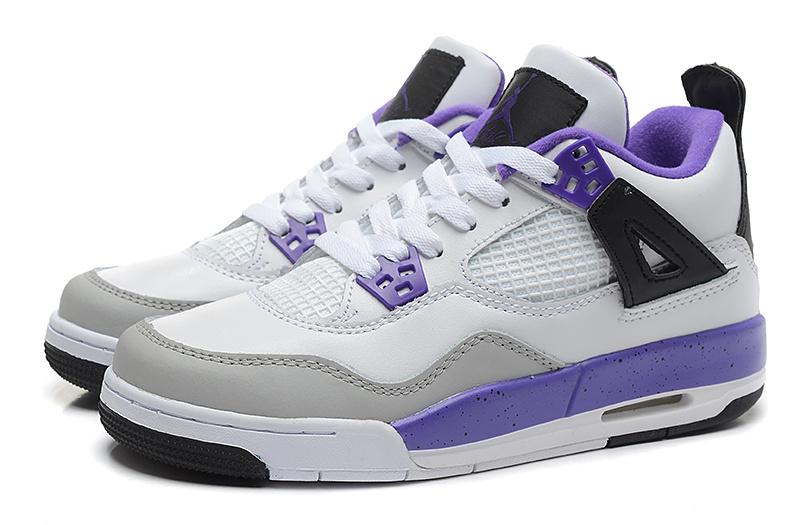 Air Jordan 4 Retro White Purple For Women  NEWEST292  -  70.00 ... 756b1016aa24
