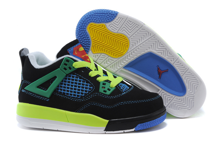 low priced 56394 99c0e ... promo code for air jordan 4 superman black blue green shoes for kids  d65a1 3390f