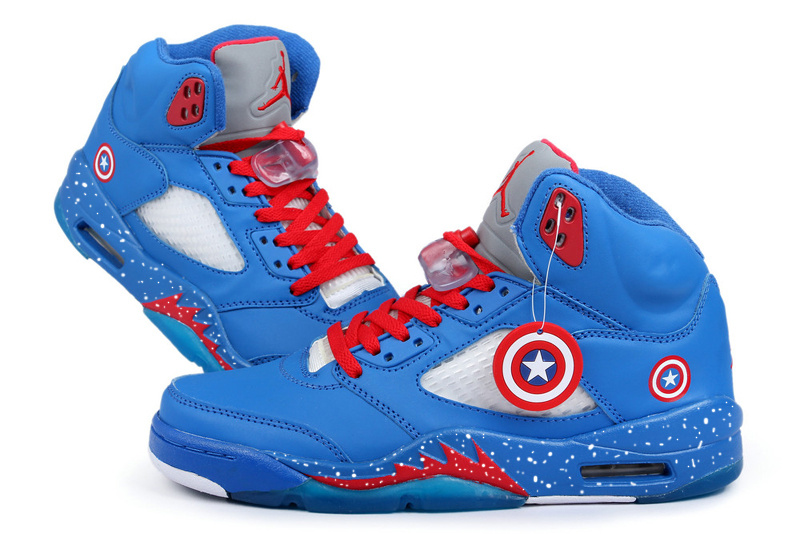 New Arrival Jordan 5 Captain America Edition Blue White Red Shoes