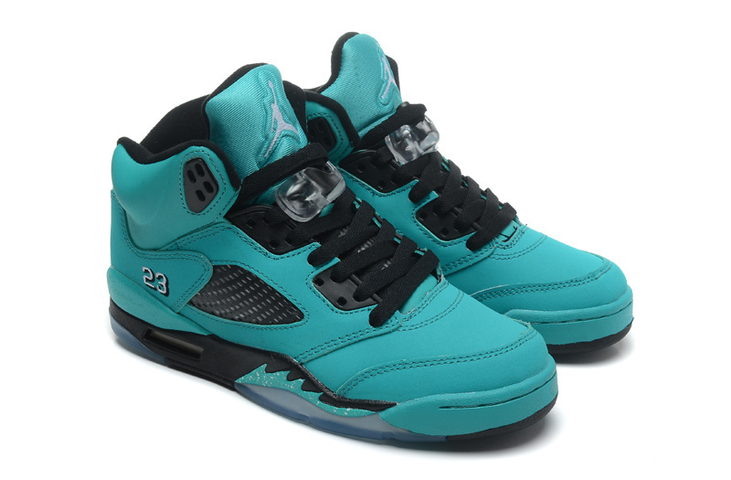 Original New Air Jordan5 Laker Green Black Shoes
