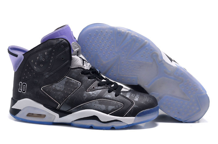 Womens Air Jordan 6 Slam Dunk Black Purple Shoes