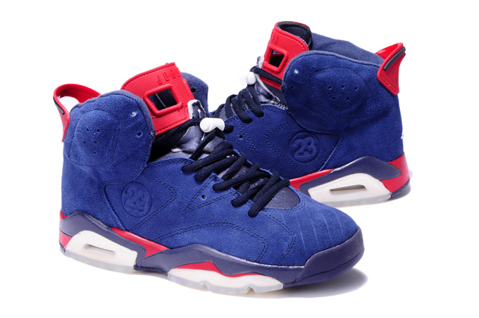 New Air Jordan 6 Suede Blue White Red Shoes