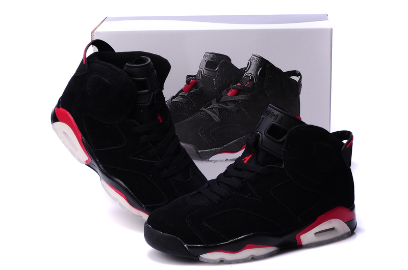 New Air Jordan 6 Suede Dark Black Red White Shoes