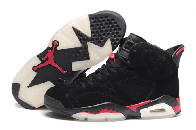 Comfortable New Air Jordan 6 Suede Dark black Red Shoes On Sale 7cfdec88b