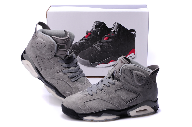 New Air Jordan 6 Suede Grey Black Shoes