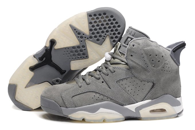 Comfortable New Air Jordan 6 Suede Grey White Shoes On Sale 20429e066
