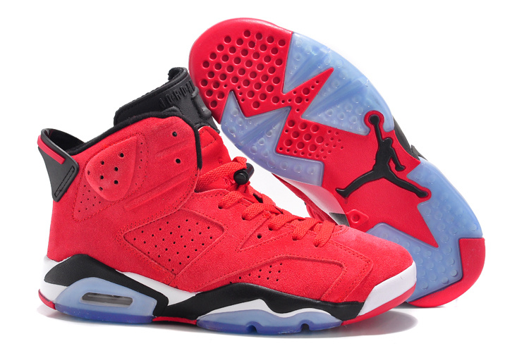 Air Jordan 6 Suede Red Black White Lovers Shoes