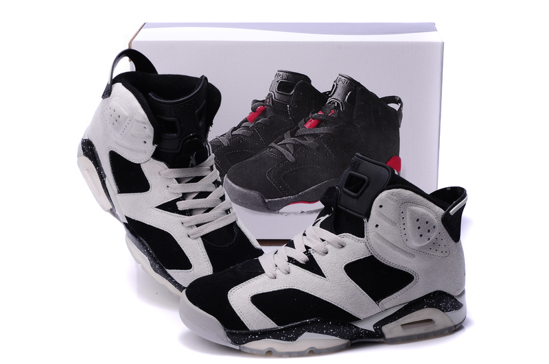 New Air Jordan 6 Suede White Black Grey Shoes