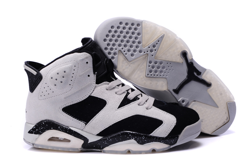 Comfortable New Air Jordan 6 Suede White Black Grey Shoes On Sale fa79f9a28