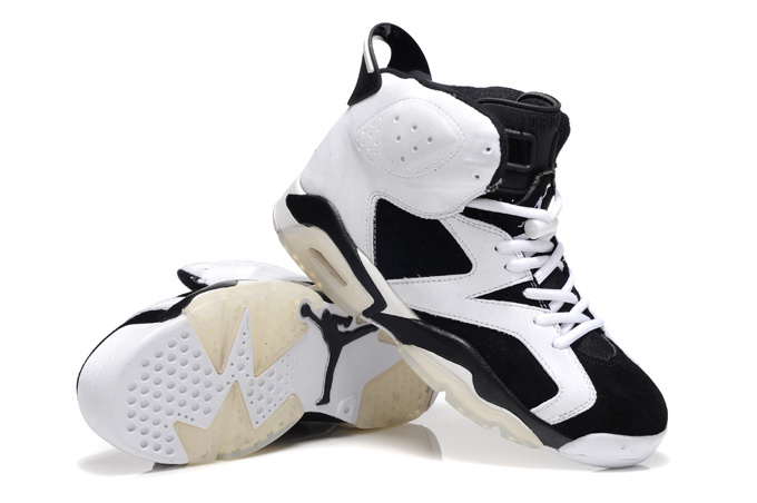 New Air Jordan 6 Suede White Black Shoes