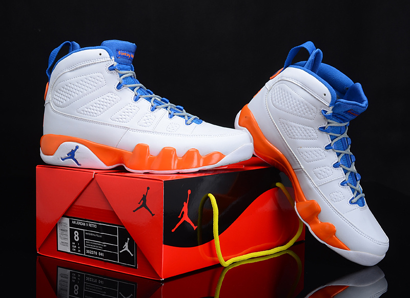 Reissued Air Jordan 9 White Blue Orange Shoes