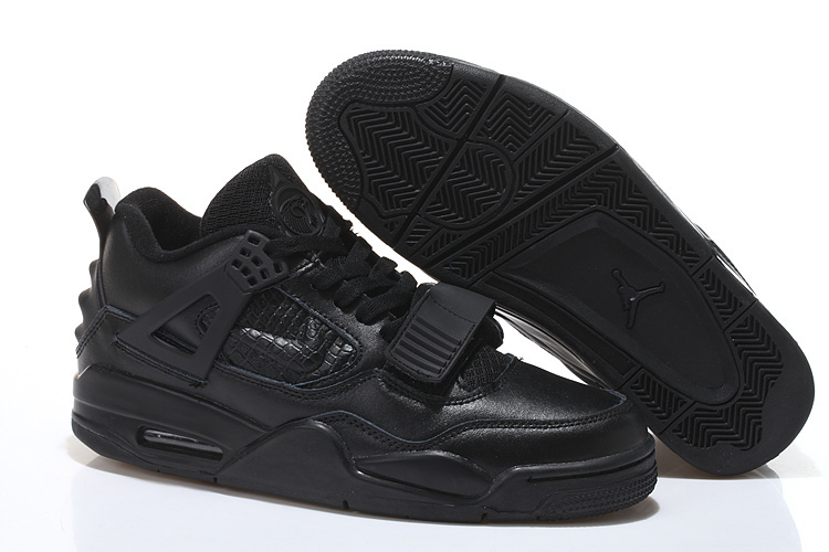 All Black Air Jordan 4 Shoes With Strap