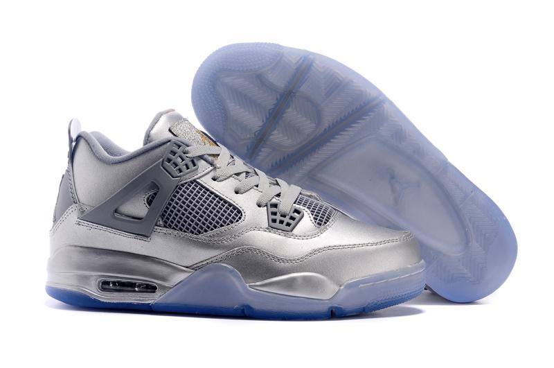 Silver Blue Sole Air Jordan 4 Shoes