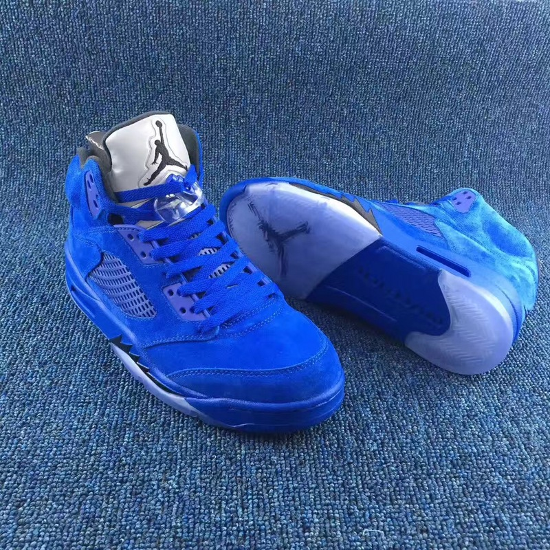 Authentic Air Jordan 5 Sapphire Blue Shoes