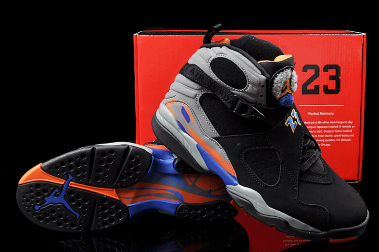 Duplicate Air Jordan 8 Black Grey Orange Shoes