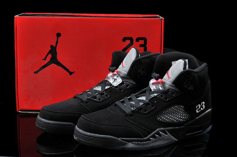 New Arrival Hardback Air Jordan 5 All Black Shoes