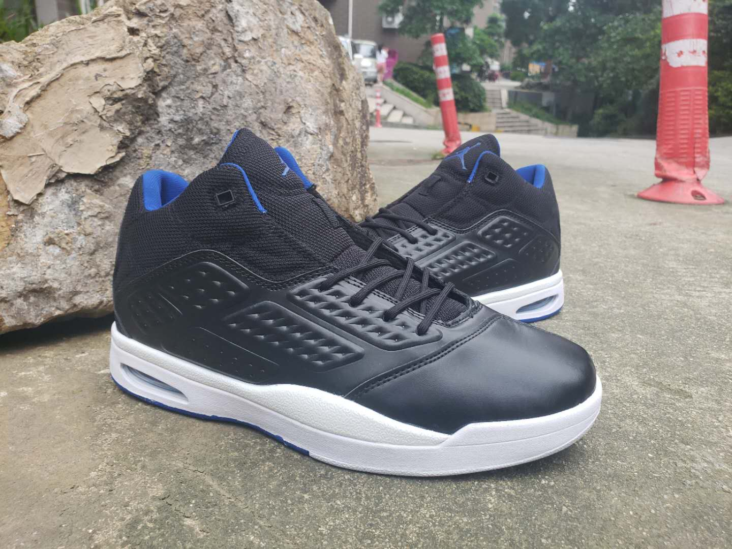 Jordan 2019 New School Black White Blue Shoes
