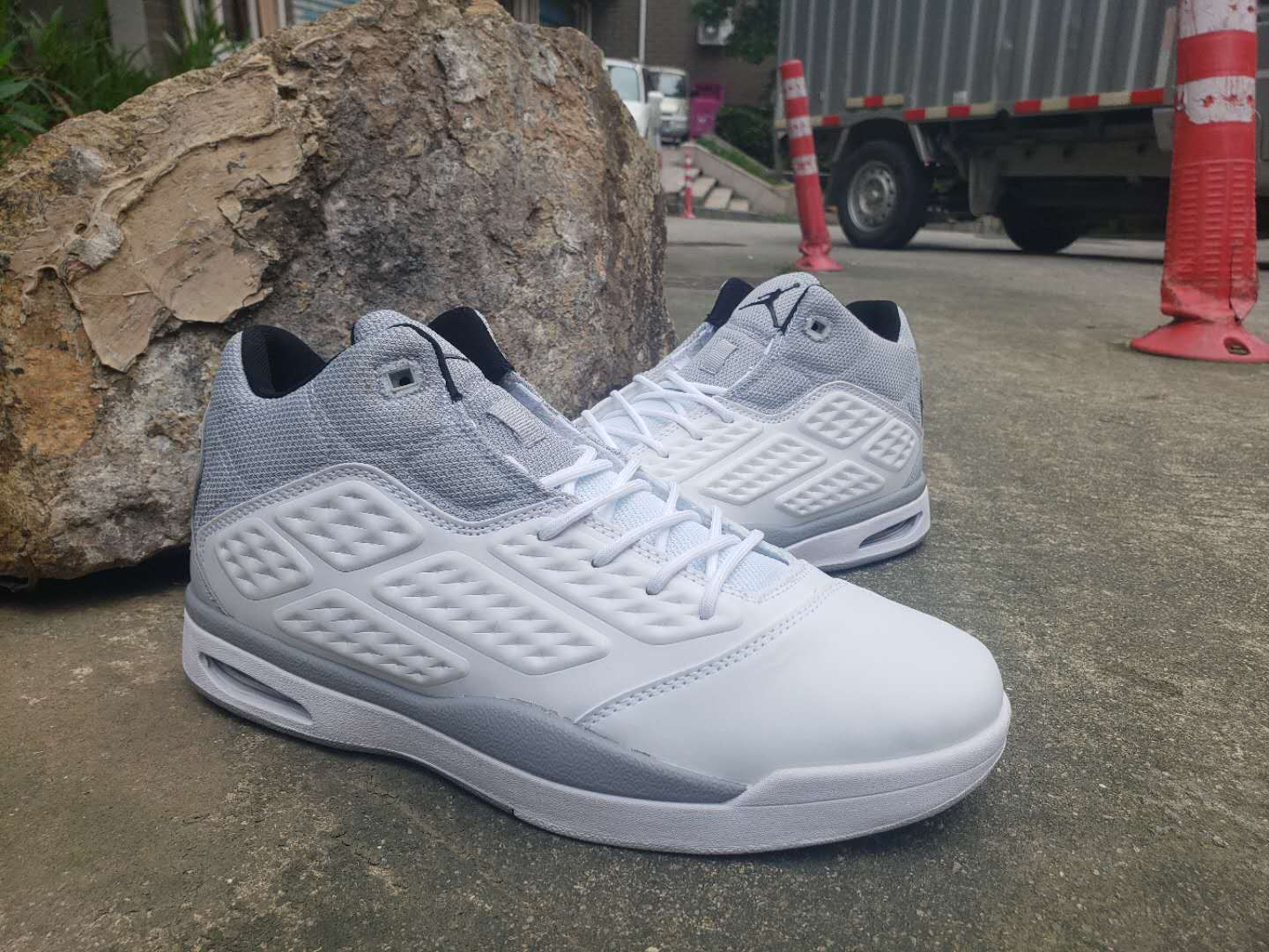 Jordan 2019 New School White Grey Shoes